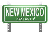 New Mexico green sign board isolated