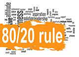 Rule 80 20 word cloud with orange banner