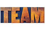 team word in wood type