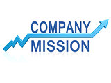 Company mission with blue arrow