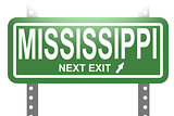 Mississippi green sign board isolated