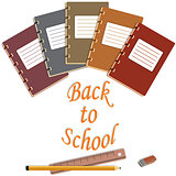 notebook, eraser, pencils, ruler abd back to school text