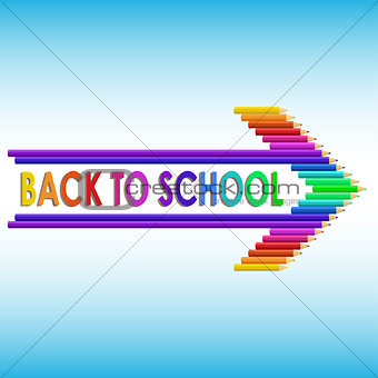 Back to school text with colored pencils