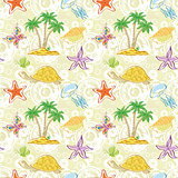 Seamless pattern, palm trees and sea animals