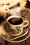 Traditional style Nanyang coffee in vintage mug