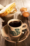 Traditional oriental Chinese coffee and breakfast