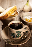 Traditional Malaysian Hainan coffee and breakfast