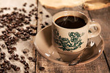Traditional style Chinese coffee in vintage mug