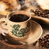 Traditional style Singaporean Chinese coffee in vintage mug