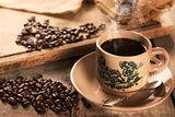 Traditional kopitiam style Hainan coffee in vintage mug