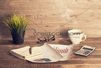 Business interior wooden work place