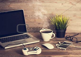 Office interior wooden working desk