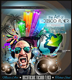Club Disco Flyer Set with DJs and Colorful backgrounds