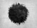 Watercolor circle, black drop on linen texture