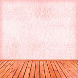 Empty pink interior: concrete wall, wooden floor