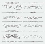 Vector Black Doodle Hand Drawn Swirls Collection