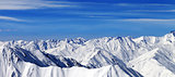 Panorama of winter mountains in nice day. Caucasus Mountains, Ge