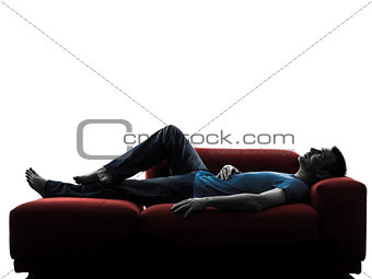 man sofa coach  lying sleeping