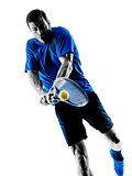 man silhouette playing tennis player