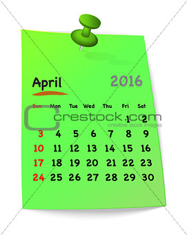 Calendar for april 2016 on green sticky note
