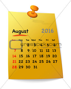 Calendar for august 2016 on orange sticky note