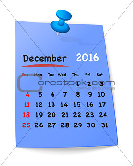Calendar for december 2016 on blue sticky note