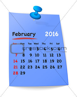 Calendar for february 2016 on blue sticky note