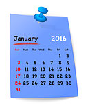 Calendar for january 2016 on blue sticky note