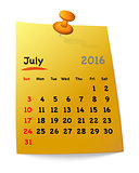 Calendar for july 2016 on orange sticky note