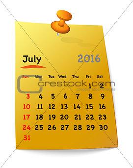 Calendar for july 2016 on orange sticky note