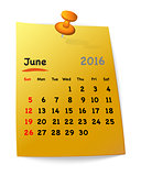 Calendar for june 2016 on orange sticky note