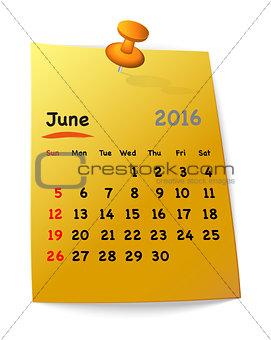 Calendar for june 2016 on orange sticky note