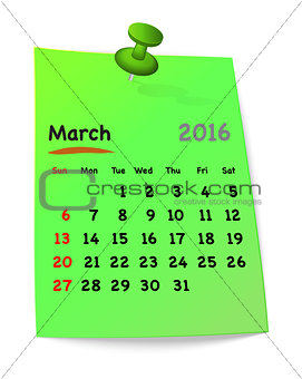 Calendar for march 2016 on green sticky note