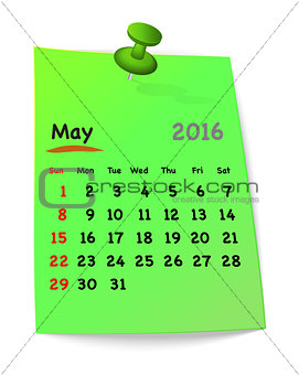 Calendar for may 2016 on green sticky note