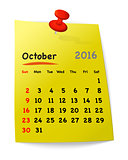 Calendar for october 2016 on yellow sticky note