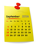 Calendar for september 2016 on yellow sticky note