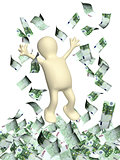 Happy 3d man and a money rain with euro banknotes