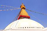 Bodnath stupa and prayer flags in Kathmandu, Nepal