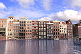 Houses in Damrak district, Amsterdam, Netherlands