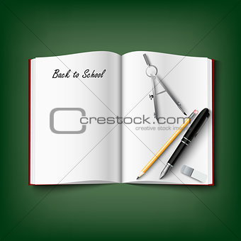 Back to School with workbook and supplies