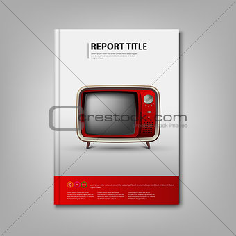 Brochures book or flyer with red retro television template