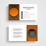 Modern business card with black orange round template