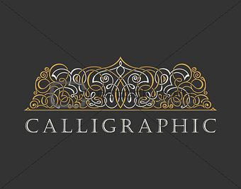 Calligraphic Luxury logo. Emblem ornate decor elements. Vintage