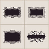 Label vector frames elegant border set. Floral banner design