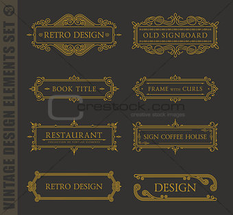 Calligraphic design elements. Vector baroque set. Vintage icons