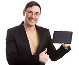 Businessman holding touch screen tablet pc