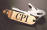 CPI - Bunch of Keys with Text on Golden Keychain.