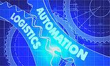 Automation Logistics Concept. Blueprint of Gears.