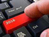Finger Presses Red Keyboard Button 2016.