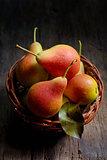 natural pears in the basket